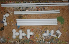 The cut pipe and joints